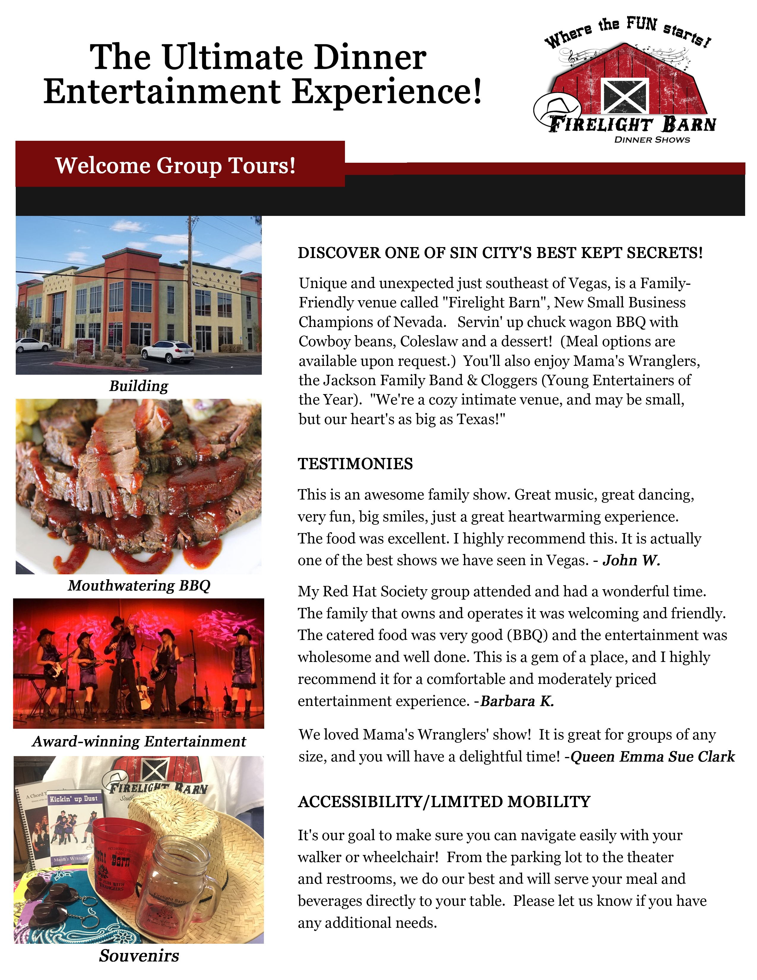 Client project - a new profile sheet for Firelight Barn ...